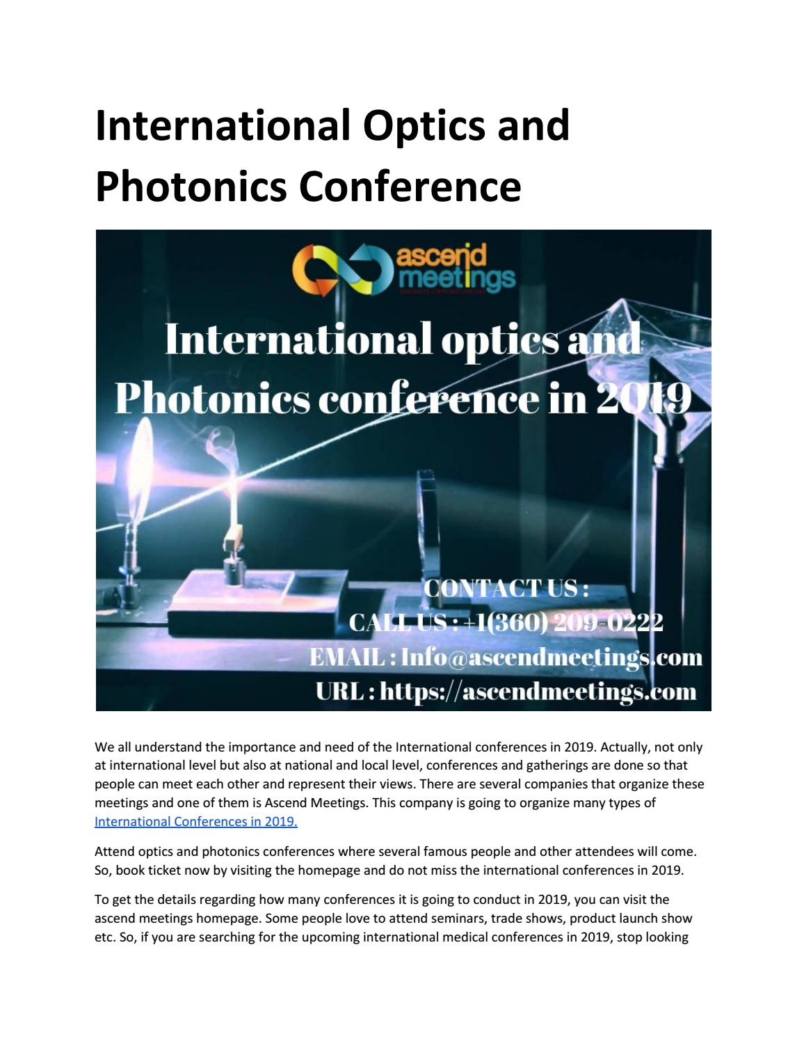 International Optics and Photonics Conference by ascendmeetingsseo