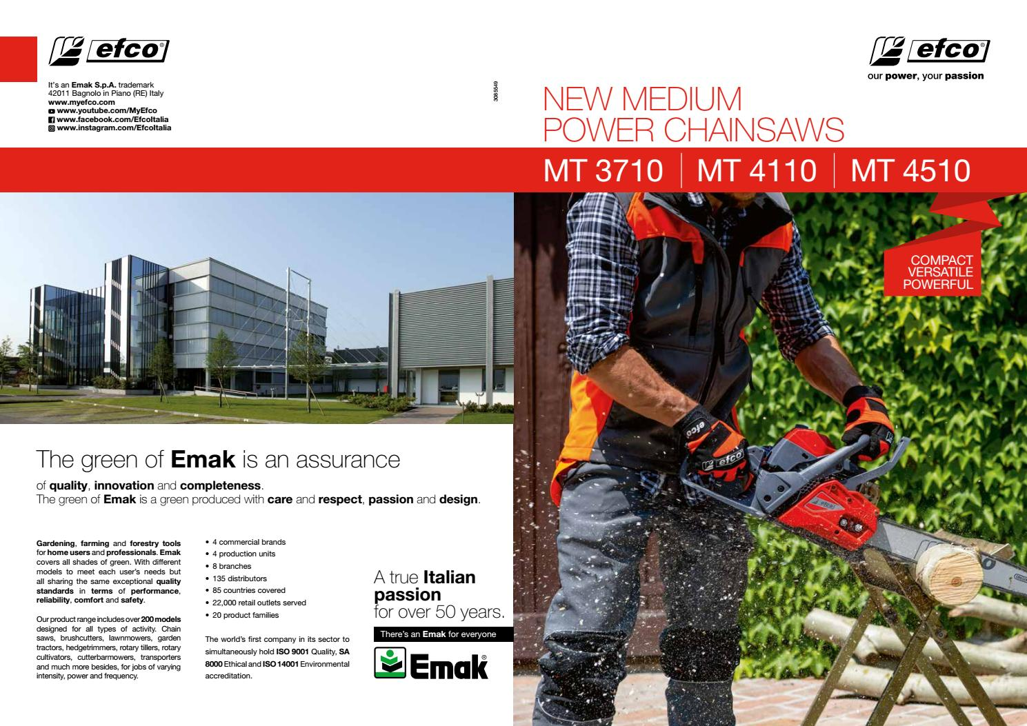 Efco MT 3710 - MT 4110 - MT 4510 new chainsaws by Emak Spa