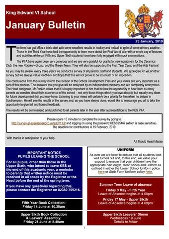 Bulletin January 2019 by King Edward VI School - issuu