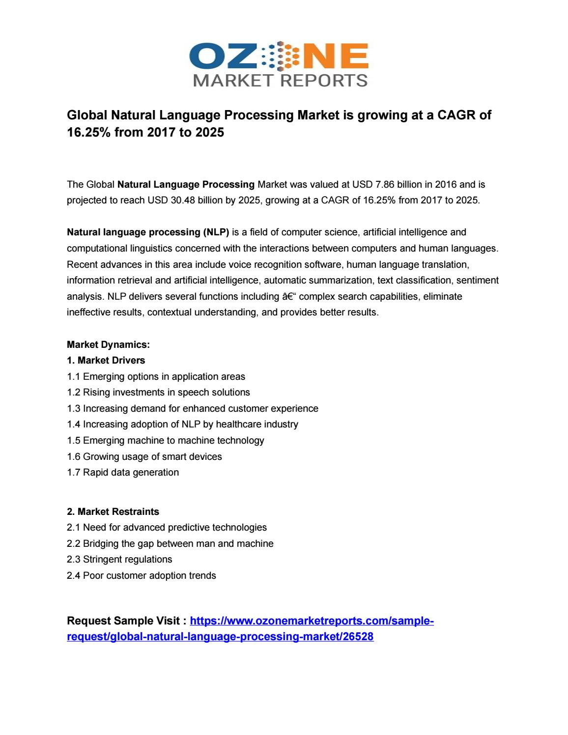 Global Natural Language Processing Market is growing at a