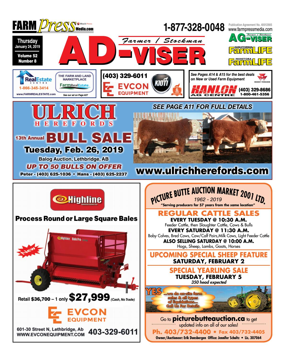 Farm Equipment For Sale In Alberta >> Southern Alberta Advisor, January 24, 2019 by Black Press Media Group - Issuu