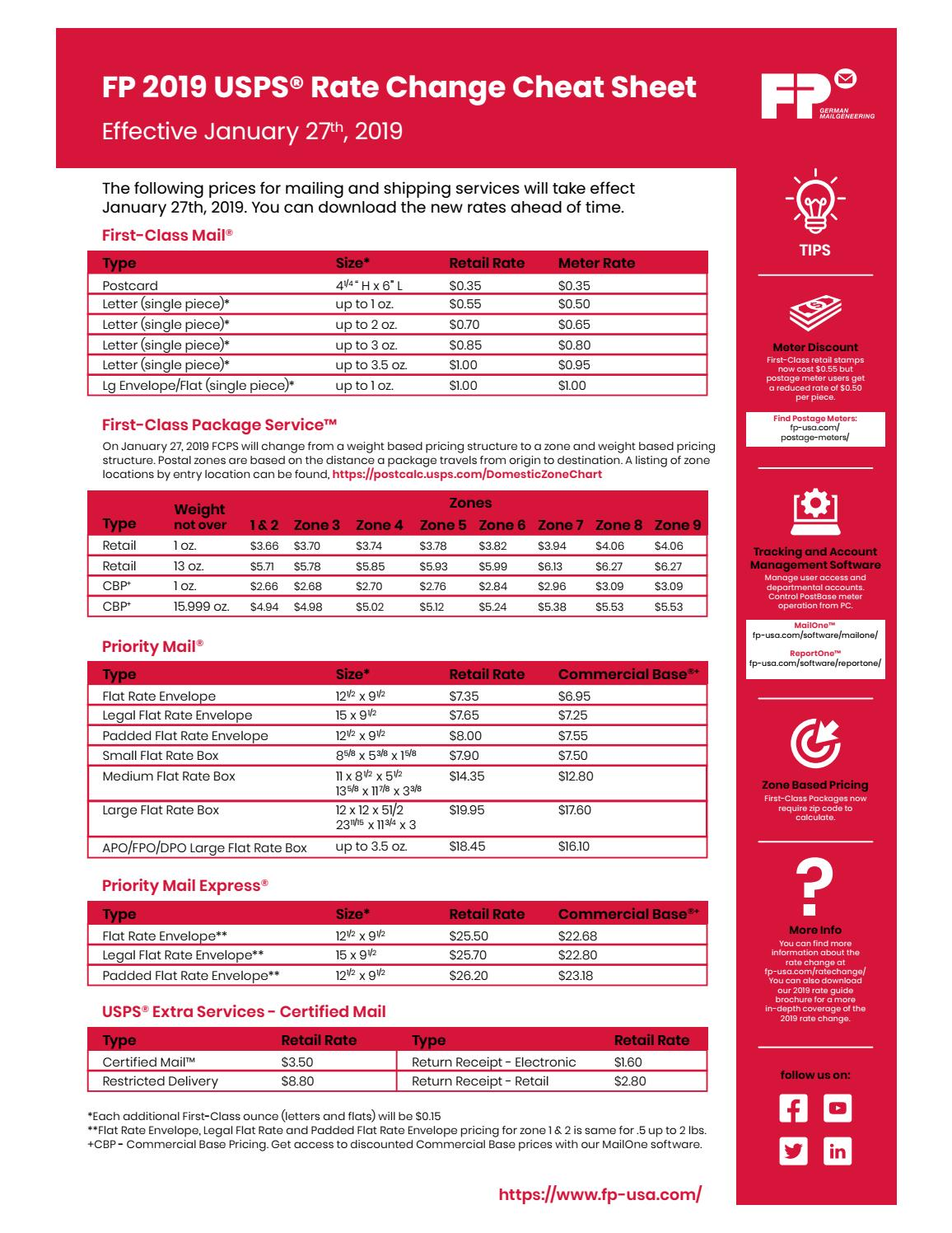 FP Jan 2019 Postal Rate Change Cheat Sheet (editable) by FP