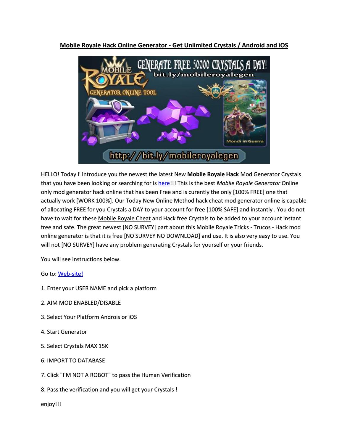 Mobile Royale Hack Online Generator - Get Unlimited Crystals