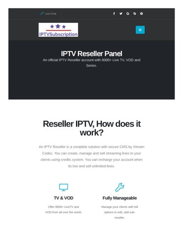 IPTV Reseller Solution | Xtream Codes Panel with credits by IPTV