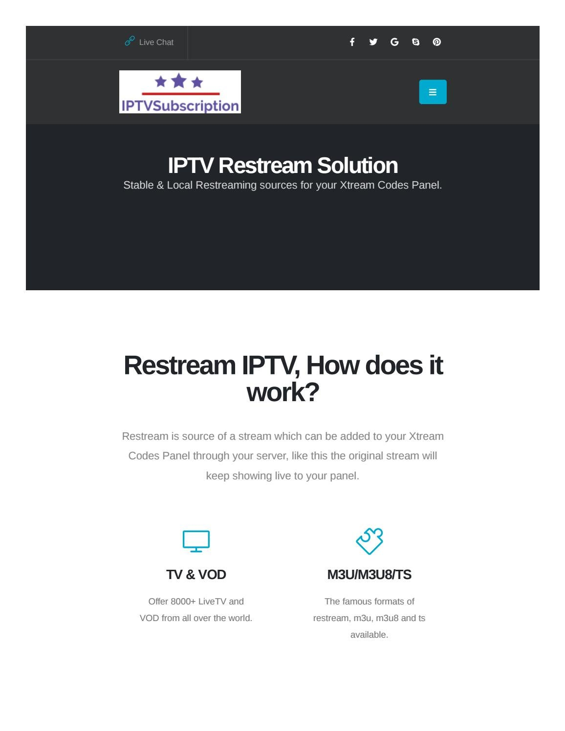 IPTV Restream Solution | Local IPTV Restreaming Sources by