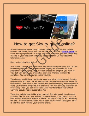 How to get Sky tv guide online? by Michael Myatowych - issuu
