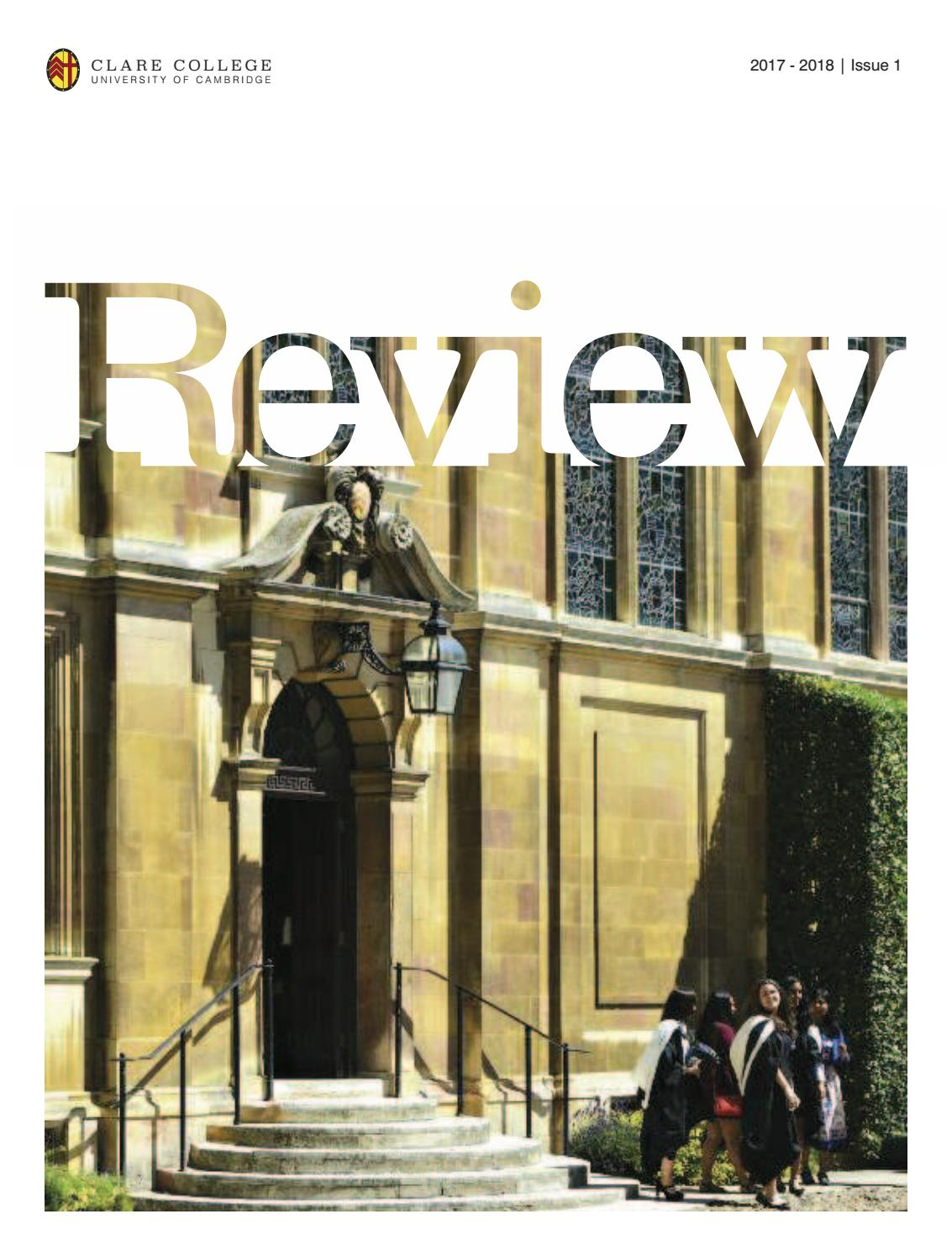 Clare Review - Issue 1 - 2017-2018 by Clare College - issuu