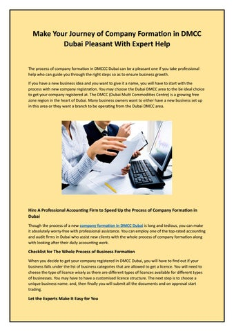 Make Your Journey of Company Formation in DMCC Dubai Pleasant With Expert  Help
