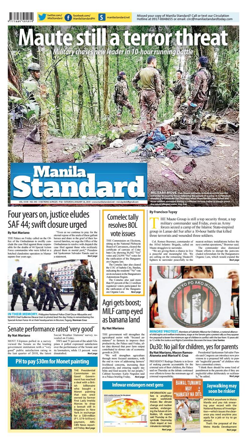 Manila Standard - 2019 January 26 - Saturday by Manila