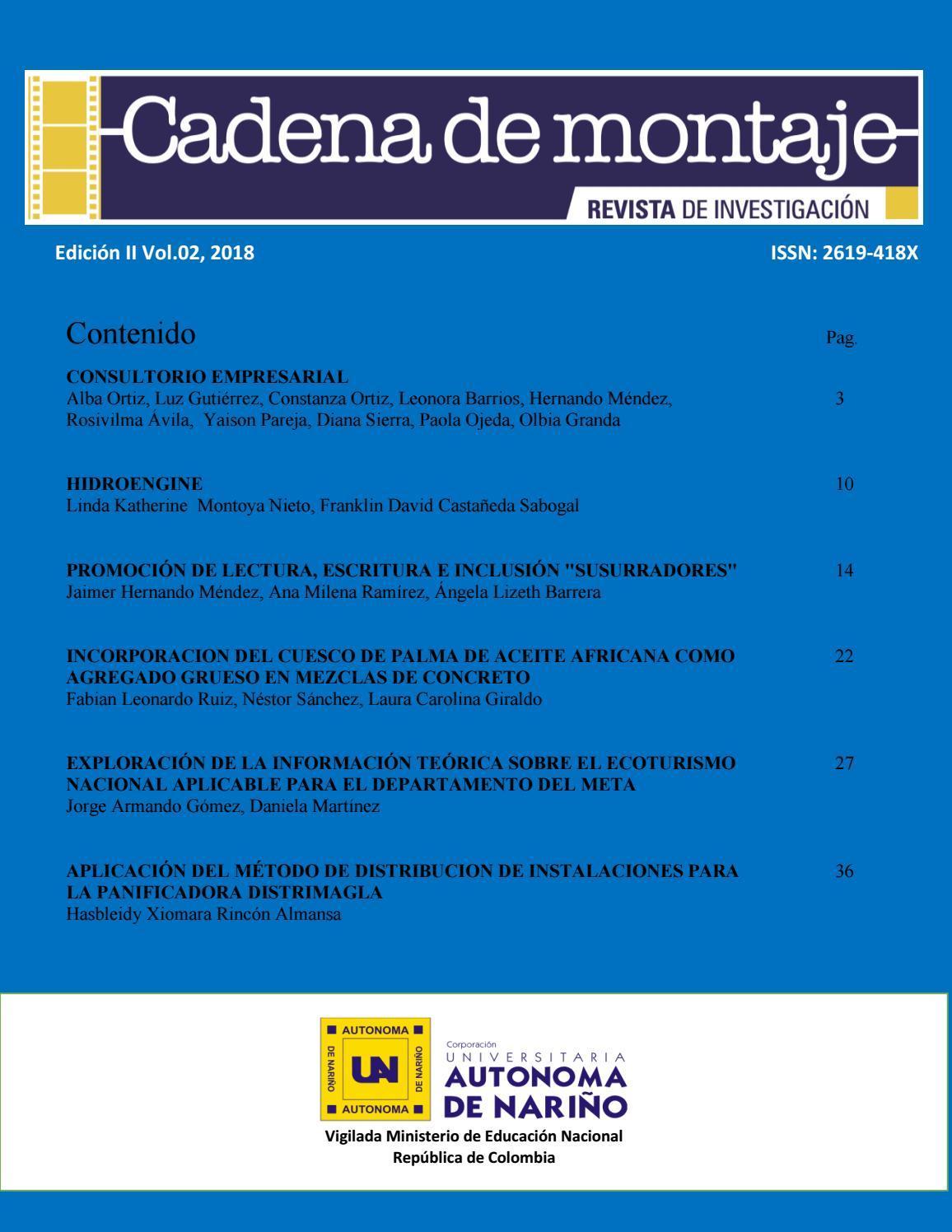 Revista Científica Cadena De Montaje Edición Ii Volumen 02