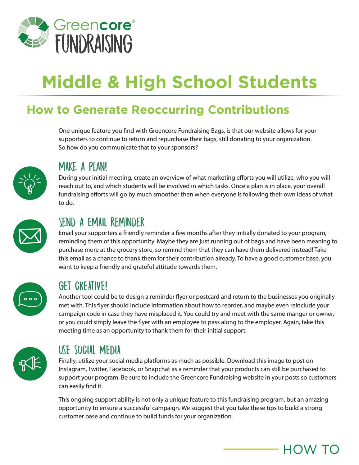 Greencore Fundraising Generating Reoccurring Contributions-Secondary