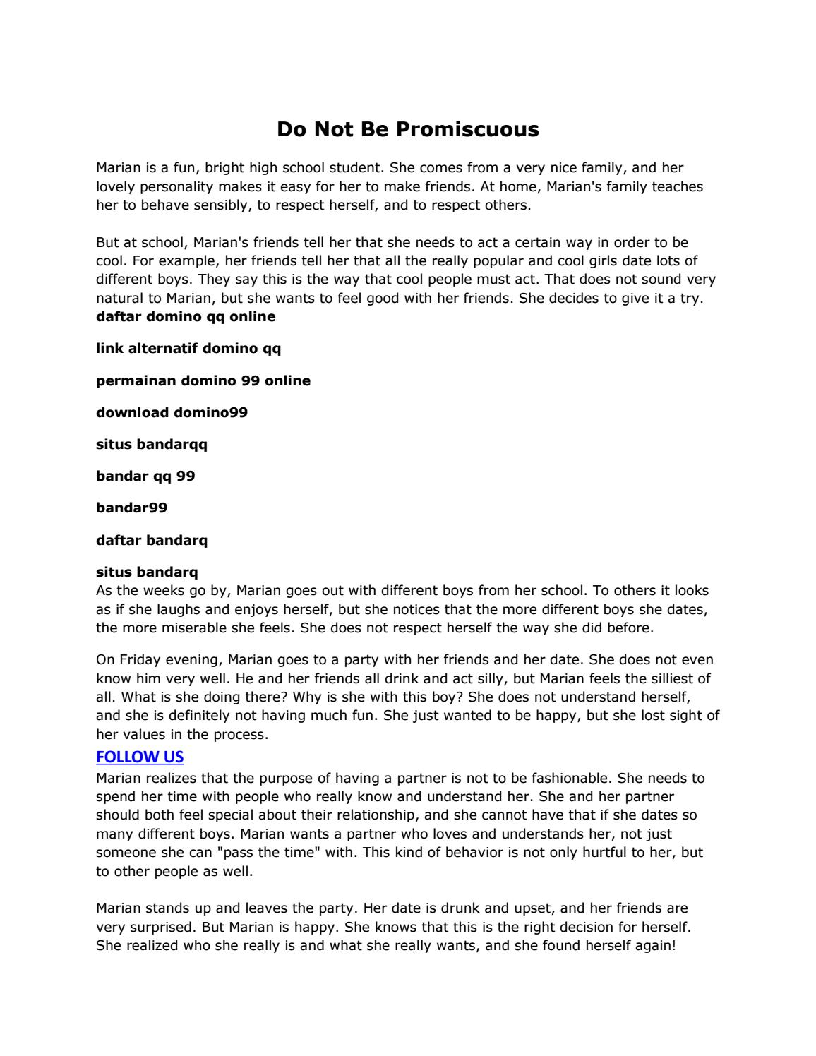 Do Not Be Promiscuous By Aleshafilia94 Issuu
