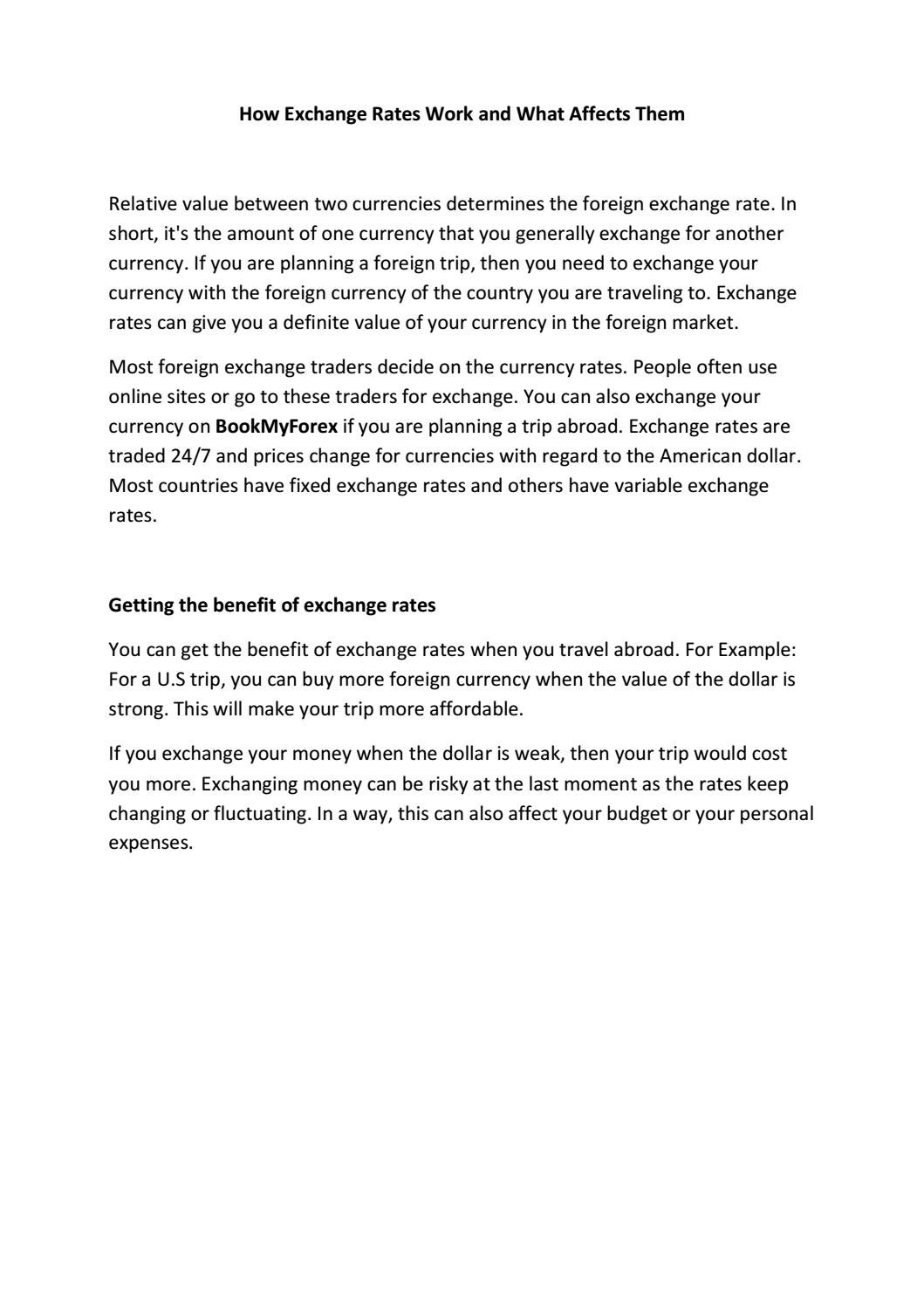 Exchange Rates Work And What Affects