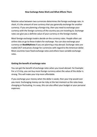 How Exchange Rates Work and What Affects Them by BookMyForex
