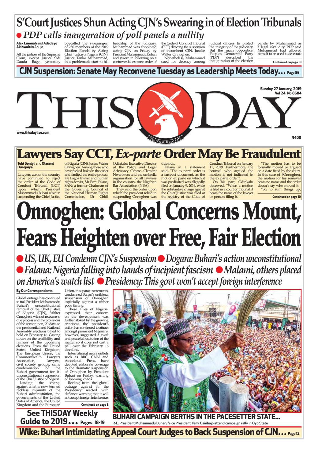 SUNDAY 27TH JANUARY 2019 by THISDAY Newspapers Ltd - issuu