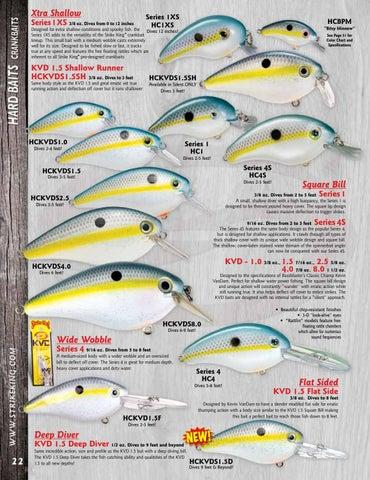 Strike King Crankbait HCKVDS1.5 Square Bill Fishing Lure BLACK BACK CHART