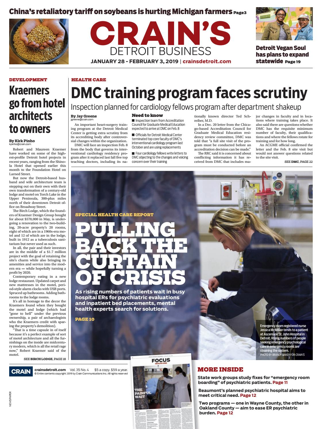 Crain's Detroit Business, Jan  28, 2019 issue by Crain's