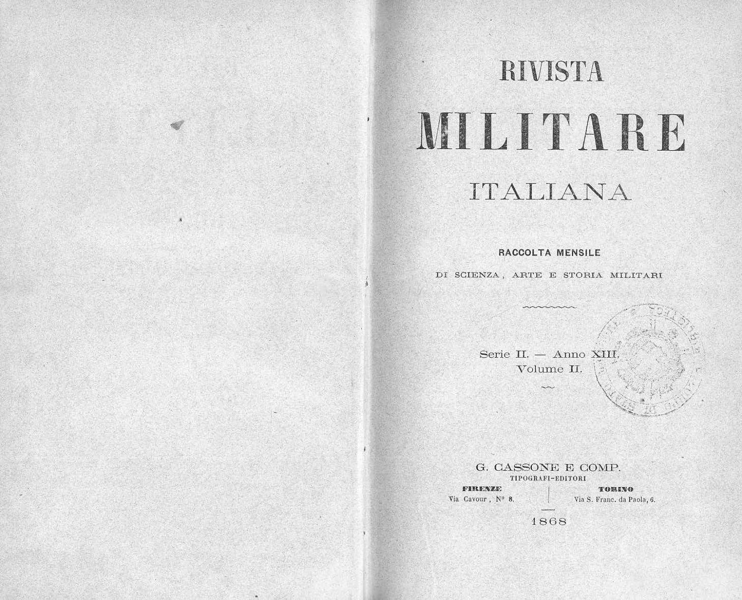 RIVISTA MILITARE 1868 TOMO II by Biblioteca Militare - issuu 6be1ae5c0dd4