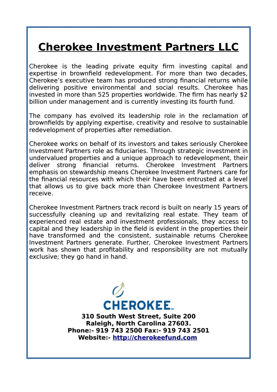 Cherokee Investment Partners LLC by Cherokee Investment