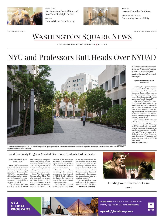 Washington Square News January 28, 2019 by Washington Square