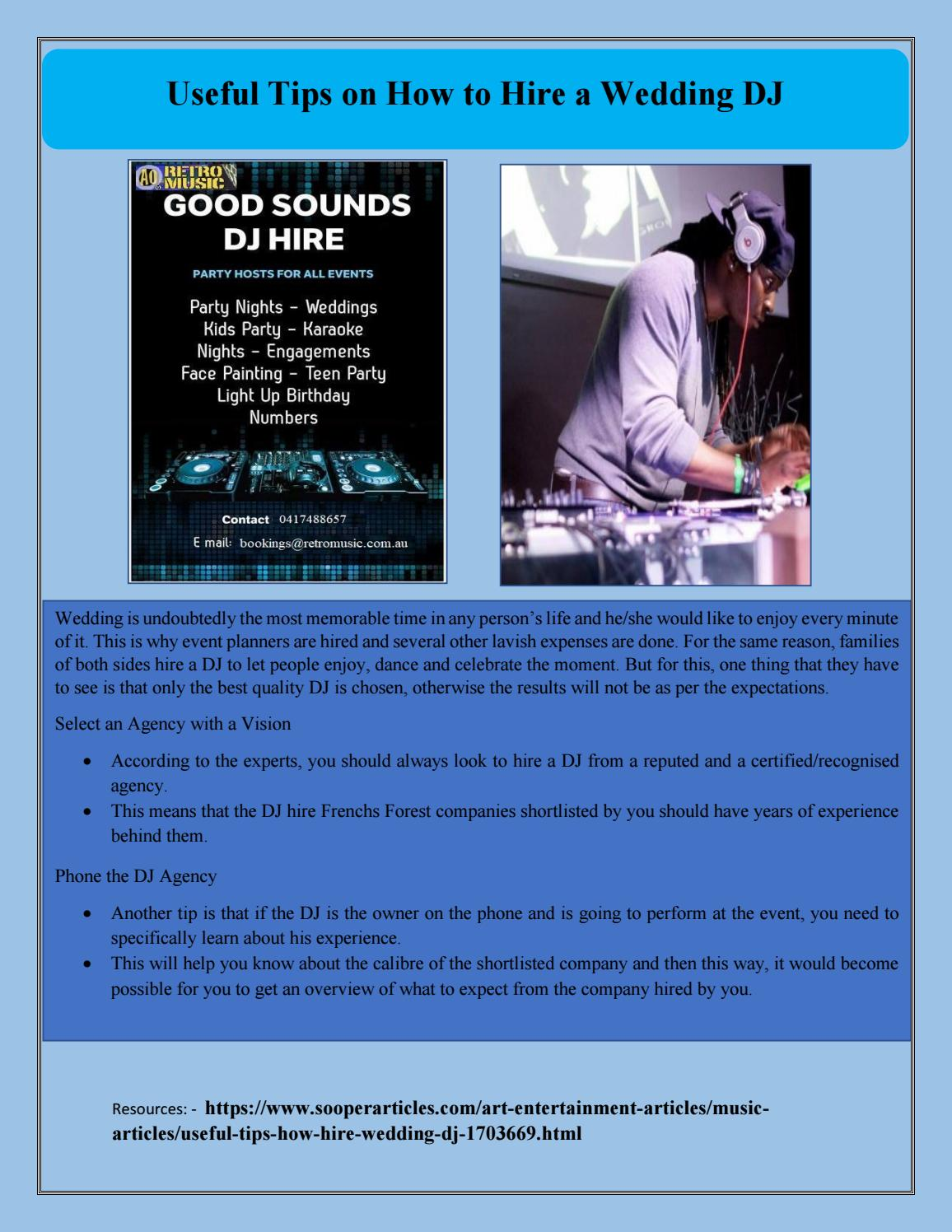 Useful Tips On How To Hire A Wedding Dj By Partydj Issuu