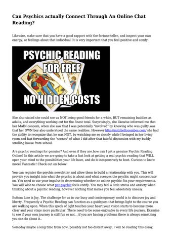 Can Psychics actually Connect Through An Online Chat Reading