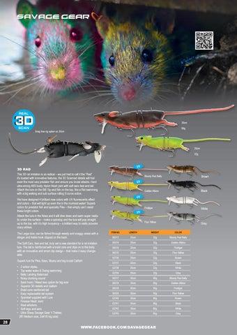 Savage Gear 3D RAD RAT 20cm 32g Pike Bass Catfish Brown Grey Black White