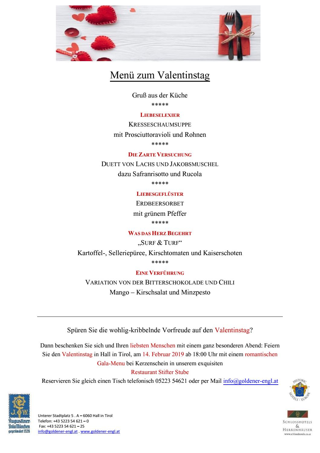 Menu Zum Valentinstag Goldener Engl By E Brochure Issuu