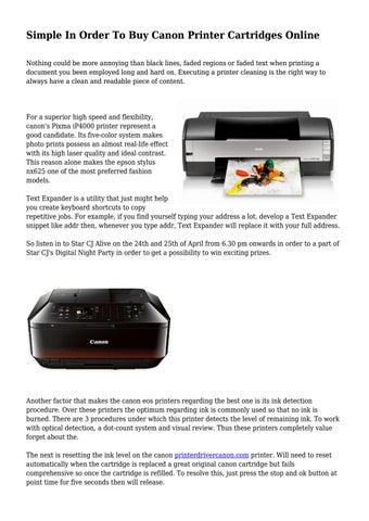 Simple In Order To Buy Canon Printer Cartridges Online by