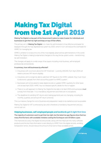 Page 3 of Making Tax Digital from the 1st April 2019