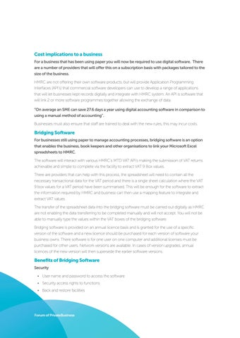 Page 8 of Cost Implications and Bridging Software