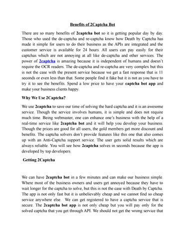 2Captcha Can't Compare to Death by Captcha by Deathbycaptch - issuu