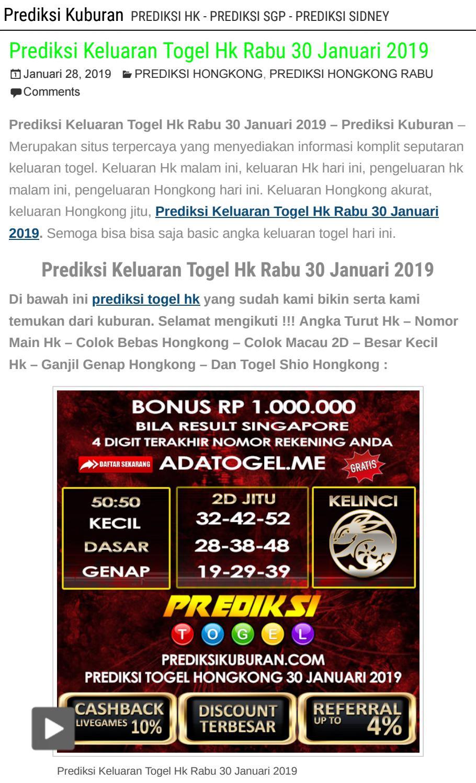 Prediksi Keluaran Togel Hk Rabu 30 Januari 2019