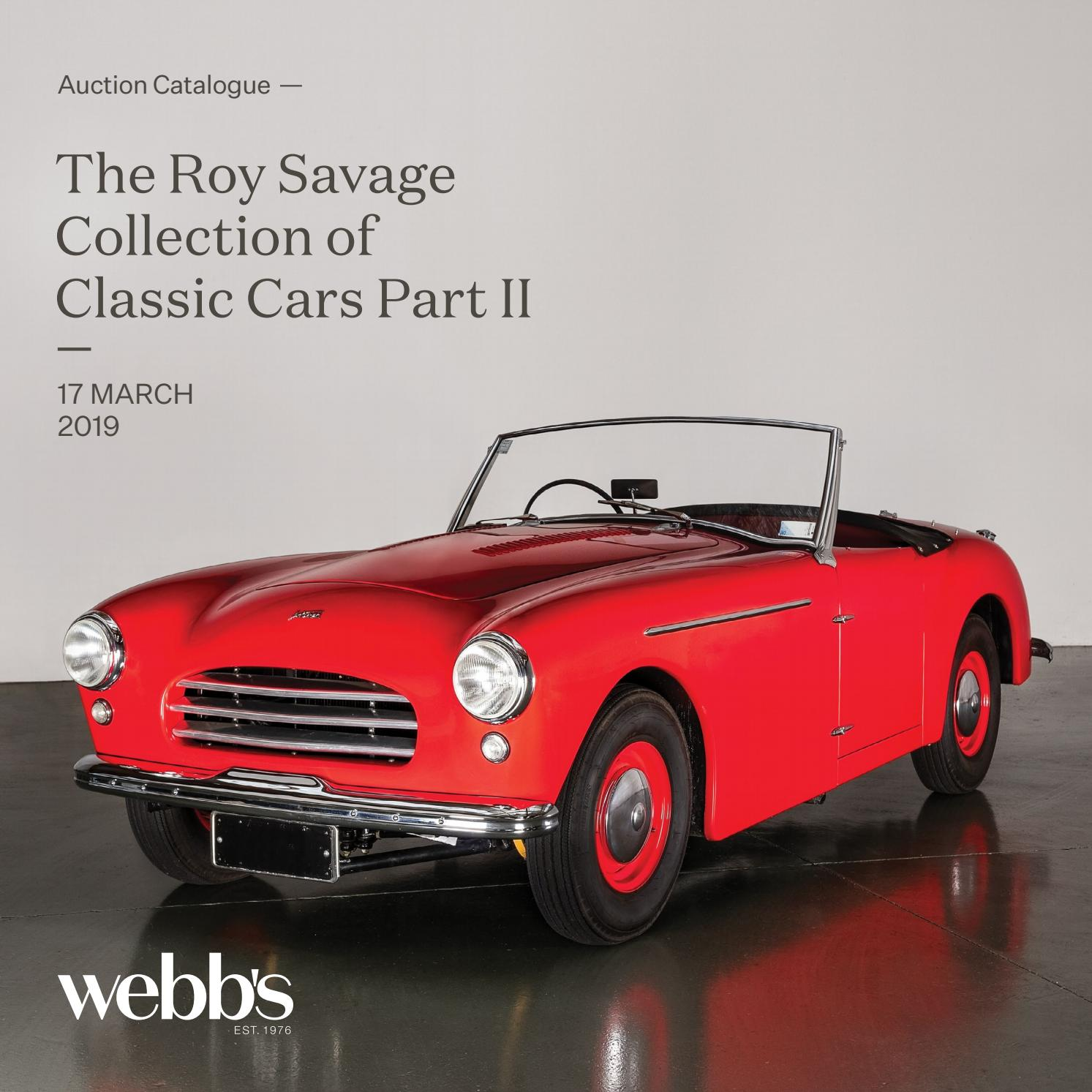 The Roy Savage Collection Of Classic Cars Part Ii By Webb S Auction