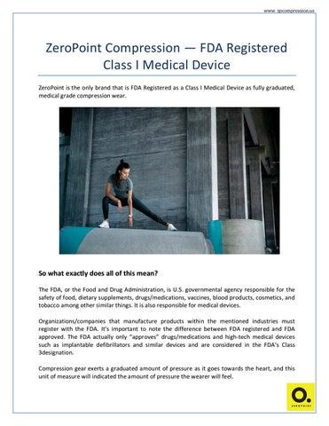 ZeroPoint Compression FDA registered class I medical device