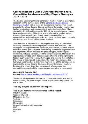Corona Discharge Ozone Generator Market by sam martin - issuu