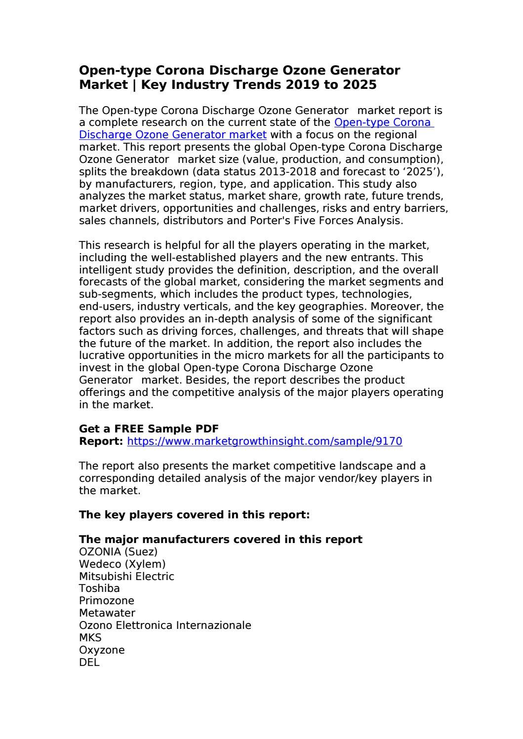 Open-type Corona Discharge Ozone Generator Market by sam