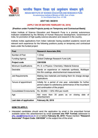 Phd Chemistry Job, Research Associate Post @ IISER, Pune by