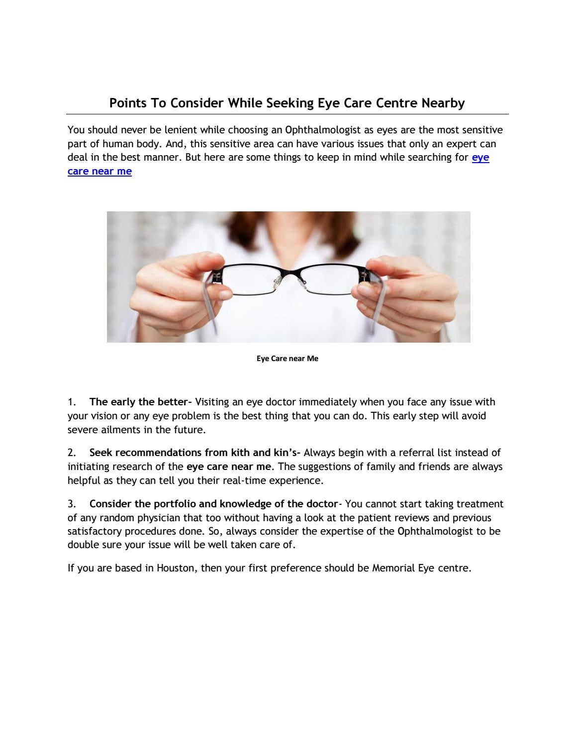Points To Consider While Seeking Eye Care Centre Nearby by
