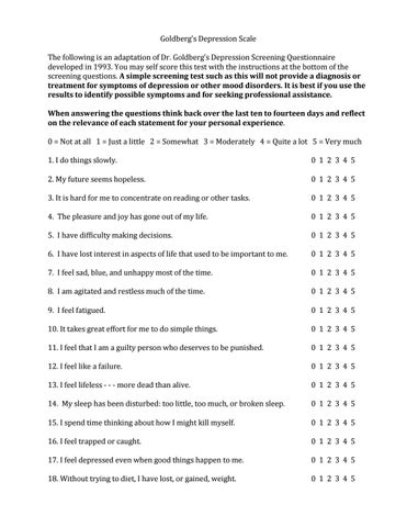 Goldbergs Depression Test Scale by iqtestonline - issuu