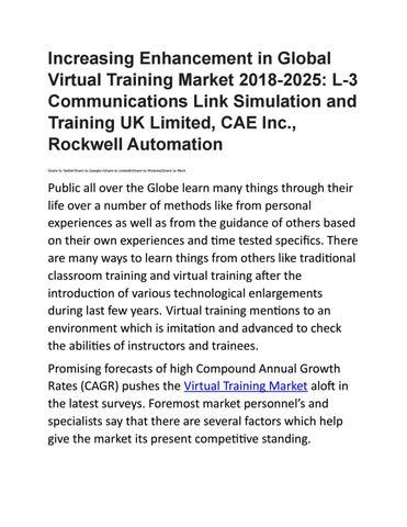 Increasing Enhancement in Global Virtual Training Market by