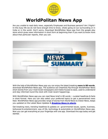 Read Latest Breaking News in 80 Words - Download