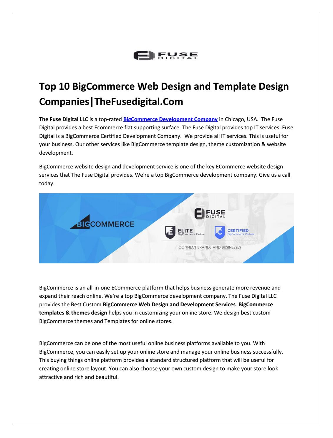 Top 10 BigCommerce Web Design and Template Design Companies