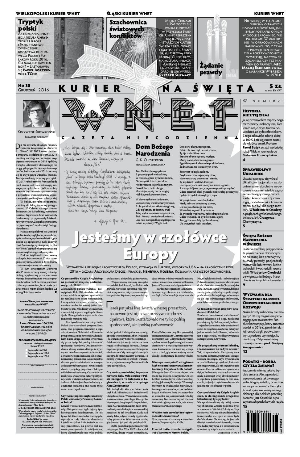 Kurier Wnet Gazeta Niecodzienna Nr 30 Grudzień 2016 By