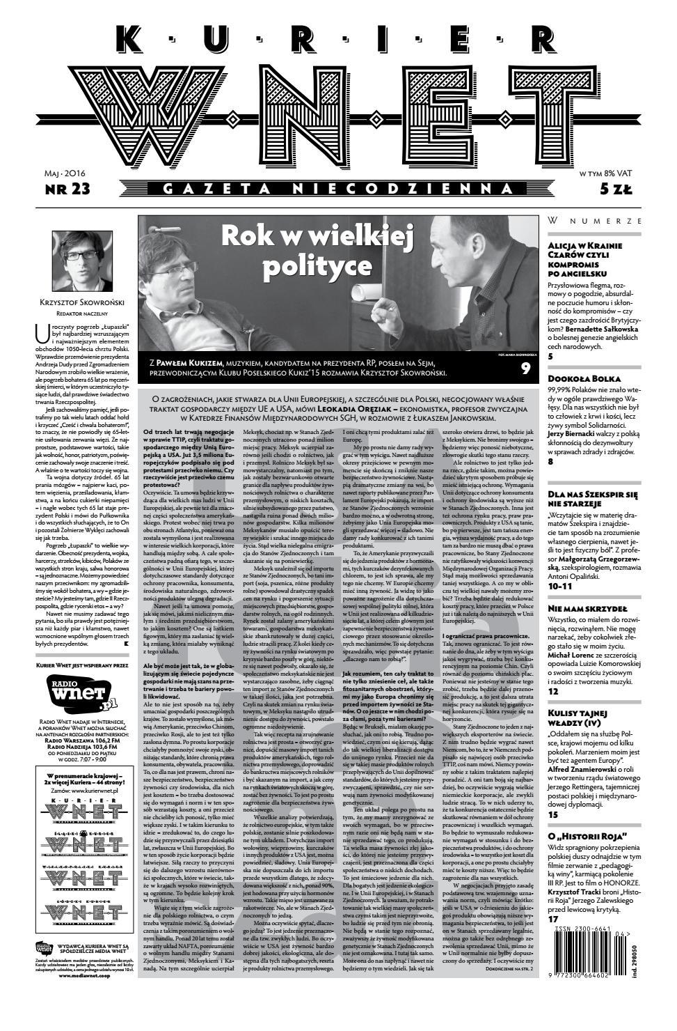 Kurier Wnet Gazeta Niecodzienna Nr 23 Maj 2016 By