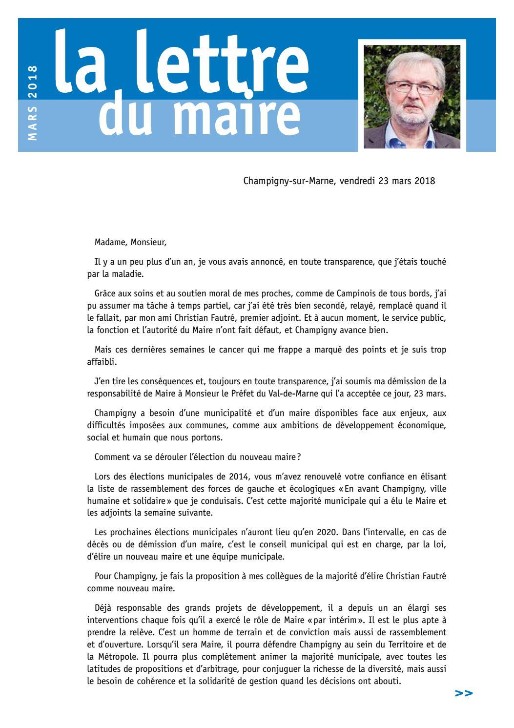 Lettre De Demission Dun Maire Au Prefet - Exemple de Lettre