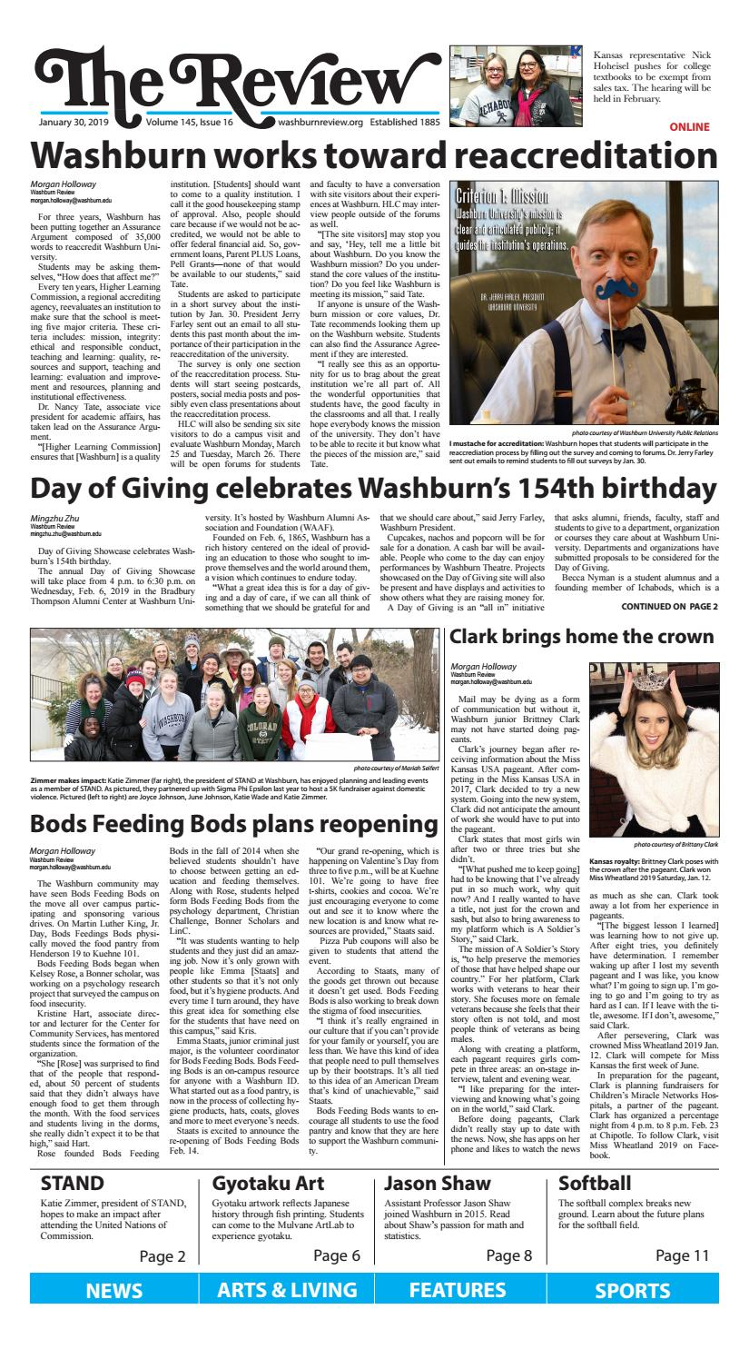 Washburn Review: January 30, 2019 -Issue 16 by wureview - issuu