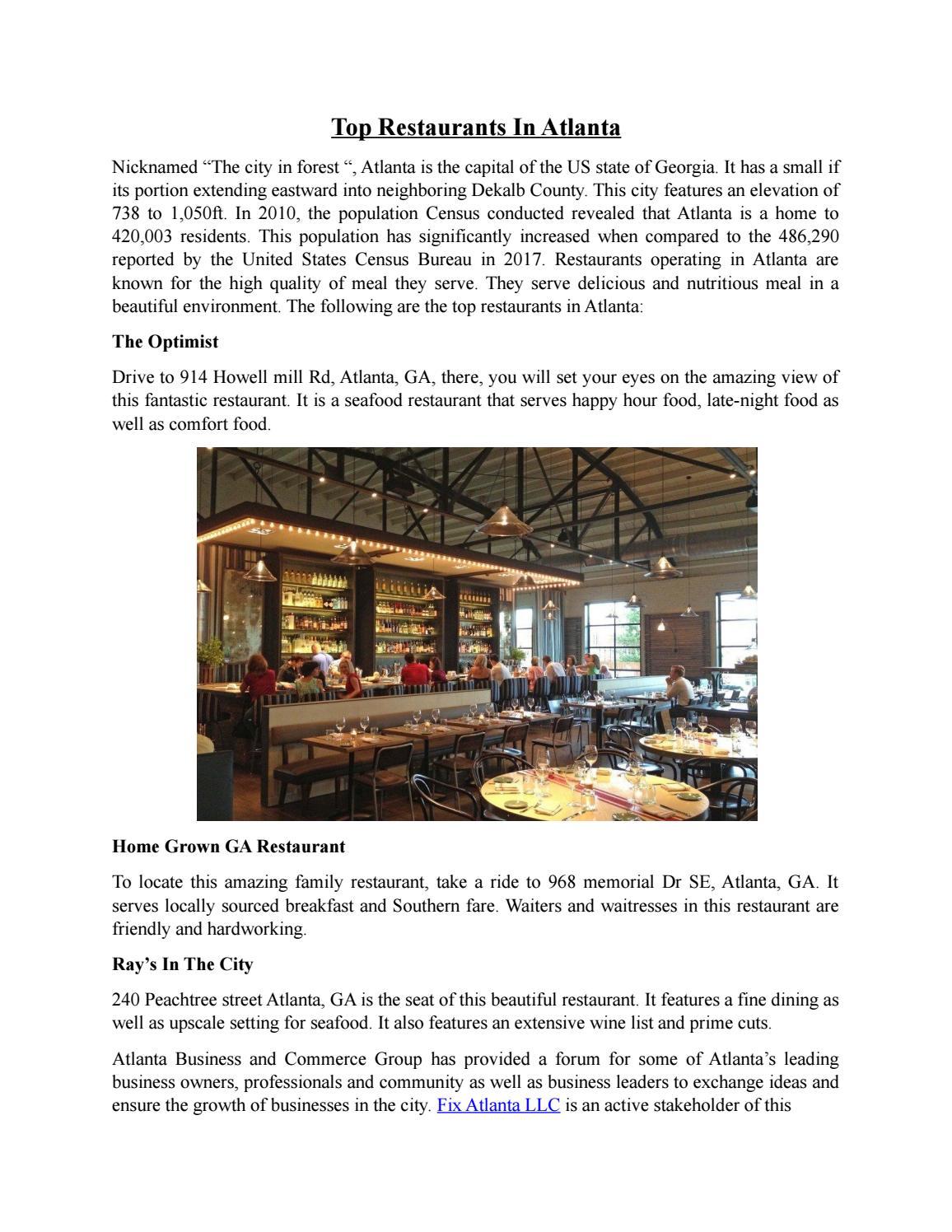Top Restaurants In Atlanta By Atlanta Business And Commerce