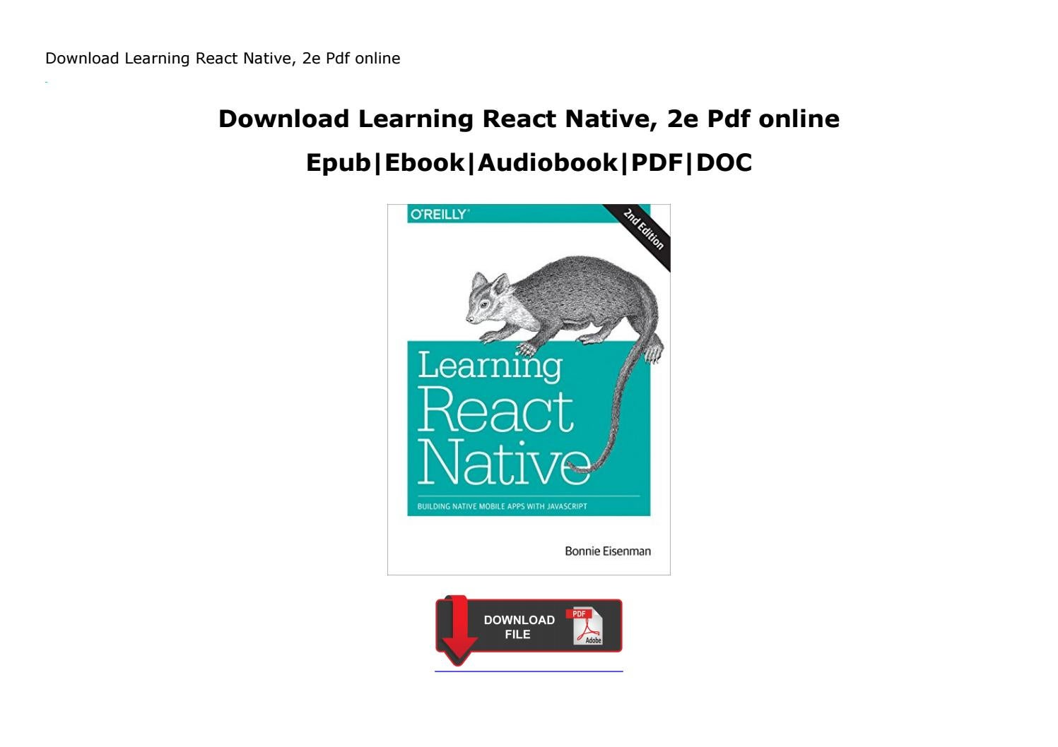 Download Learning React Native, 2e Pdf online by