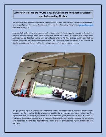 American Roll Up Door Offers Quick Garage Door Repair In Orlando And  Jacksonville, Florida